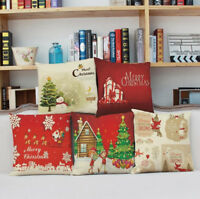 "45CM(18"") Linen Christmas Pattern Cushion Cover Pillow Case Sofa Xmas Home Decor"