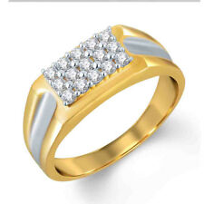 0.46 Ct Round D/VVS1 Cluster Engagement Men's Ring 14K Yellow Gold Over