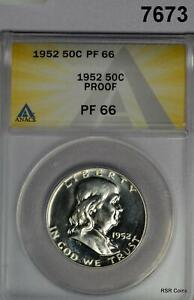 1952 FRANKLIN HALF ANACS CERTIFIED PF66 PROOF PALE REVERSE CAMEO!  #7673