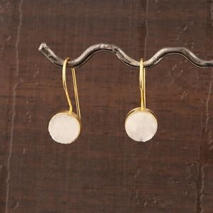 Creative Look White Sugar Druzy Yellow Gold Plated Round Stone Drop Earrings