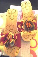 Damas Floral de Madera Sandalias Rojo con Decoración Floral Top a Reino Unido s Aprox 3/4 - Nuevo
