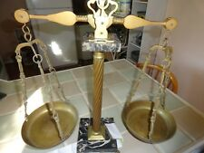 VINTAGE Antique Brass Justice balance scales MARBLE base