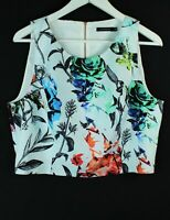 Portmans sleeveless cropped floral zip back top - as new - 14