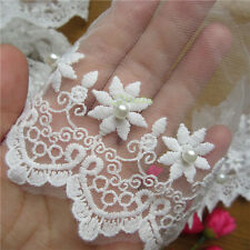1 yd Embroidered Cotton Pearl Net Floral Lace Edge Trim Wedding Ribbon Applique