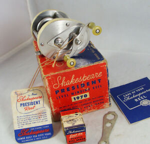 Old Vintage SHAKESPEARE PRESIDENT No. 1970 Model FK Casting Reel + Box + Extras