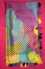 NEW•Multi~Colored•W/ BLACK•LARGE•Fashion•Scarf/Wrap•Polka•Dots&Tassels•FREE•SHIP