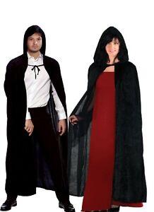 ADULTS BLACK VELVET HOODED HALLOWEEN CAPE ROBE VAMPIRE CLOAK FANCY DRESS COSTUME