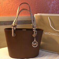 $248 Michael Kors Jet Set Handbag MK Luggage Brown Leather Purse Bag