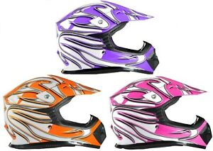 Youth Kids Motocross Helmet Child Pink Purple Orange DOT ATV UTV MX