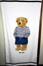 Polo Ralph Lauren Lauren Polo Bear Boy Beach Towel  White NWT