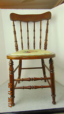 Antique-Vintage-Wooden-Chair-with embroidered seat Brown