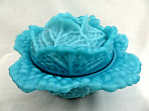 Portieux Vallerysthal France Turquoise Opaline Milk Glass Covered Cabbage Bowl