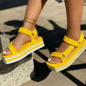Womens Platform Sandals Summer Wedge Heels Beach Slippers Casual Flip Flop Shoes
