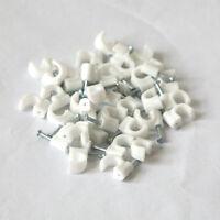 100X Plastic Round Wire Cable Clips 6mm White with Fixing Nails 、Pop