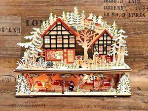 3D Schwibbogen Holz auf 2Etagen Weihnachtsdeko Lichterbogen 45cmTradition