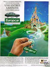 Publicité advertising 1991 Location de voiture Europcar Euro Disney