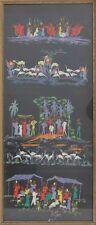 Afrikanische Malerei - Afrikaner Krokodile Gazellen Vögel, Gouache datiert 1957