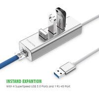 LENTION 4in1 USB 3.0 Hub Splitter Box RJ45 Ethernet Network LAN Adapter PC Mac