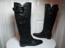 ROGER VIVIER BLACK SOFT LEATHER PULL ON LOGO BUCKLE KNEE HIGH BOOTS 37 US 6.5