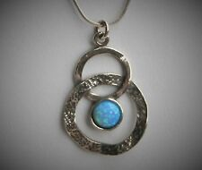 "Israel Didae Shabool Design 18"" Sterling Silver Faux Opal Loops Pendant Necklace"