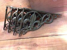 4 Fleur De Lis Shelf Brace Shelf Bracket Corbel Cast Iron Rustic FREE SHIPPING