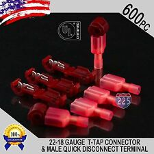 (600) T-Taps + Male Disconnect Wire Connectors Red 22-18 AWG Gauge Terminals UL