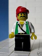 Lego Figur Pirat -  Piraten, Pirates I grün/weißes Shirt für Set 6296  No: pi051