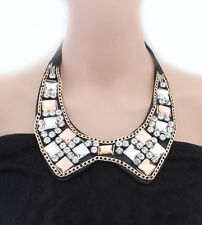 Fashion boutique acrylic gems crystal ribbon fake collar bib statement necklace