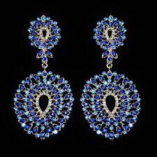 Grandes boucles d'oreilles femme chandelier cristal bleu