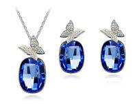 Luxury Royal Blue Butterflies Crystal Jewellery Set Stud Earrings Necklace S405