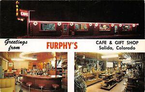 H67/ Salida Colorado Postcard Chrome Furphy's Café Gift Shop Interio 3View  20
