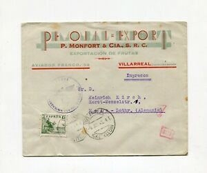 !!! WWII, SPAIN, 1942 COVER TO METZ (FRANCE) GERMAN CENSORSHIP