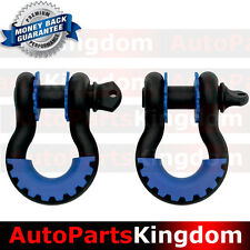 """1 Pair 3/4"""" Black 4.75 ton D-ring Shackle+Blue Isolator Washers Silencer Clevis"""