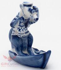 Gzhel Mice mouse Rat in Sailing Boat porcelain figurine souvenir handmade