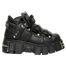 New Rock Boots M-106-VS1 Unisex Metallic Black Vegan Leather Gothic Punk Rock