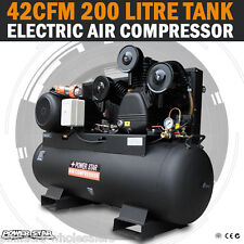 NEW Large Commercial Air Compressor 200 Lt Tank 42CFM 3 Cylinder 10HP, 3 Phase