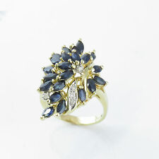 NYJEWEL 14k Solid Gold Brand New 3ct Sapphire Diamond Cocktail Ring Gift!