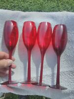 SET OF 4 VINTAGE 11 INCH TALL RUBY RED CRYSTAL CHAMPAGNE GLASSES BEAUTIFUL SET