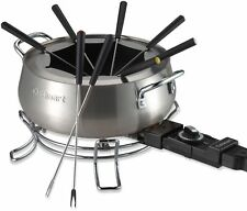 3-Qt Kitchen Brushed Stainless-Steel-Fork-Ring Nonstick Electric Fondue Pot Set