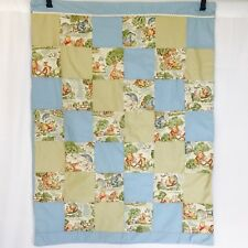 "Winnie The Pooh Patchwork Blue Tan Baby Blanket Quilt Homemade Handmade 43""x33"""