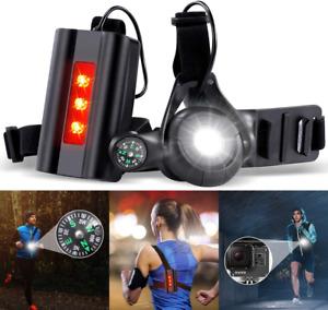 SGODDE Night Running Lights for Runners, Rechargeable LED Chest Run Light Safety