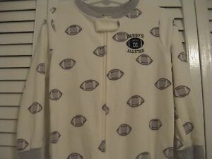 "BOY'S SLEEPER, CARTER'S SIZE 4 ""DADDY'S #1 ALLSTAR"", WHITE & GRAY COTTON & POLY"