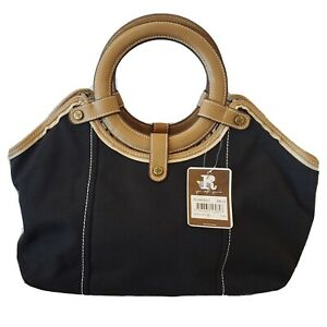 Relic By FOSSIL Amanda Satchel Black Canvas Handbag Tan Vegan Leather Accent