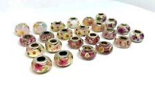 24 Pcs Pink Purple Green Big Hole Glass Beads Fit Pandor European Bracelet