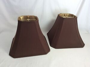 Pair of allen + roth Brown Fabric Bell Lamp Shade 10 tall x 13 and 6 wide - USED