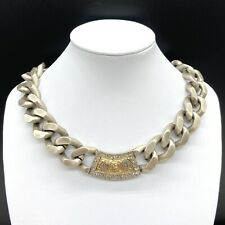 TAT2 Designs Antiqued Silver Casablanca ID Chain Link Crystal Necklace
