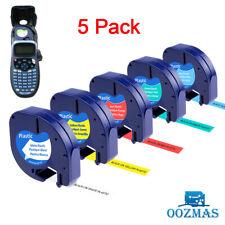 More details for 5pk compatible dymo letratag plastic 91201 12mm label tape cartridge lt-100h