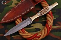 HAND FORGED DAMASCUS STEEL KNIFE W/ STAG & BRASS HANDLE -910