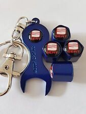 SEAT Black top Blue Wheel Valve Dust caps & Blue Spanner/Keychain All Models