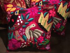 Handmade Embroidered Ethnic Mexican Otomi Throw 2 Pillow Cases Cushion Covers